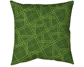 "Geo Greenery Throw Pillow, 14"" 16"" or 18"" Spun Polyester"