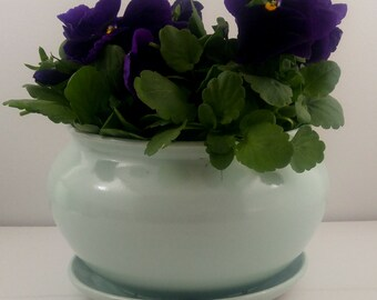 Green Tabletop Planter with Attached Saucer