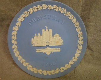 Vintage Wedgwood Jasperware light blue  Christmas Plate 1980 St. James's Palace 8 1/4 inch