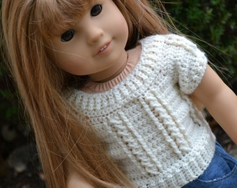 18 inch Doll Clothes - Crocheted Cable Sweater - Ivory - MADE TO ORDER - fits American Girl