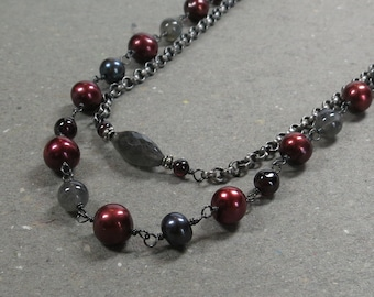 Garnet, Labradorite Necklace Multi Strand Cranberry Pearls Oxidized Sterling Silver Gift for Wife Gift for Her