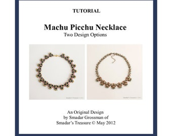 Beading Tutorial, Machu Picchu Necklace 2 Version. Beading Pattern with Magatama Drops Beads. Beadweaving Beadwork PDF File Instant Download