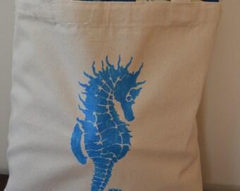 Nautical Seahorse Canvas Tote Bag Ocean Beach