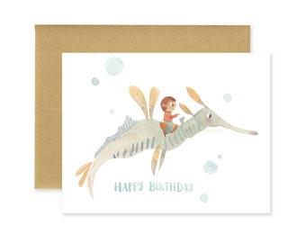 Sea Dragon Happy Birthday Illustrated Greeting Card • Seahorse Stationery •Under the Sea • Cute Fantasy Creature