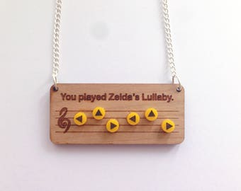 Legend of Zelda Zelda's lullaby necklace - Ocarina of Time - Nintendo 64 - Old school - Geek and cute