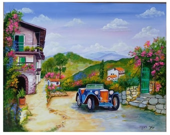 Car in the village-Handmade Acrylic painting on wood-landscape painting-decorative painting-realistic painting-romantic painting-countryside