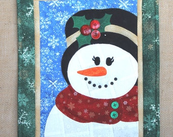 Holidays in Patches Mrs. Snowman Quilted Mini Wall Hanging