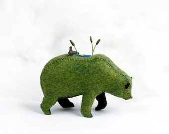 Lily Pond Bear / Soft Sculpture Bear / Felt Animal / Felt Bear / Forest Spirit / Bear Art