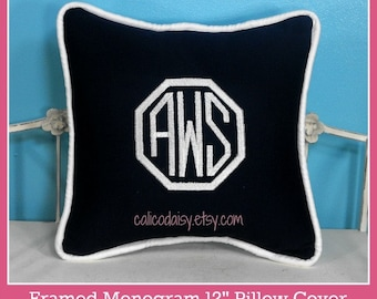 Framed Octagon or Circle Monogrammed Pillow Cover - 12 x 12