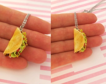 Bean Taco Necklace - Food jewelry, kawaii necklace, food necklace, miniature food