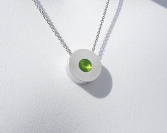 Modern Dot Necklace – Contemporary Jewelry – Peridot Green Pendant