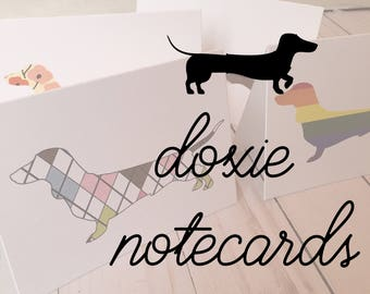 Doxie Notecards, Dachshund, Cards, stationary, Dogs, assorted set, Novelty, Box of 8 -  thank you notes, Assorted Designs, Weiner Dog