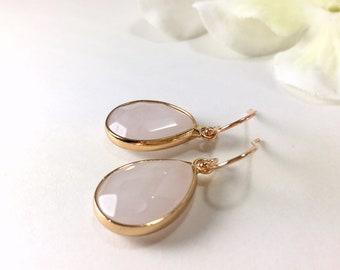 Rose Quartz Earrings Rose Gold Quartz Dangle Earrings Rose Quartz Drop Earrings Gemstone Pink Earrings Rose Quartz Jewelry Bridesmaid Gift