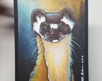 """Original ACEO """"Long-tailed Weasel"""""""