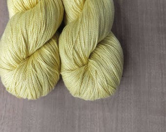 Naturally Dyed with Goldenrod - Hand Dyed Silk Lace Yarn