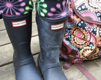 Dandelion Print Cuff, Pink Sock ,Fleece Rain Boot Liners, for Tall or Short Hunter Boots, Boot Accessories, Sz Sm/Med 6-8 or Med/Lg 9-11