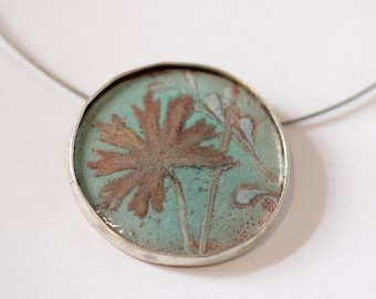 Botanical Necklace - Hand Painted Enamel - OOAK