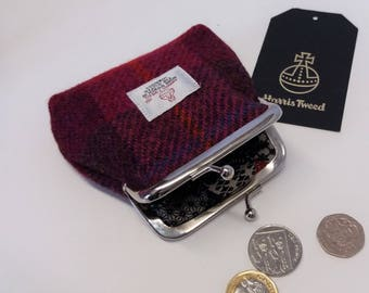 Harris Tweed Coin Purse / Handmade / Dark Pink and Brown Checked