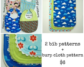 Baby sewing patterns, Baby Burp Cloth pattern, Baby patterns, Pdf pattern, Burp rag pattern  - 2 bib patterns + burp cloth pack (S114+S115)