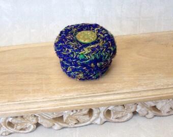 Silk Basket w/ Lid - Handmade Silk Tapestry Basket w/ Czech Glass Flower Embellishment - Valentine's, Mother's Day, Wedding Anniversary Gift