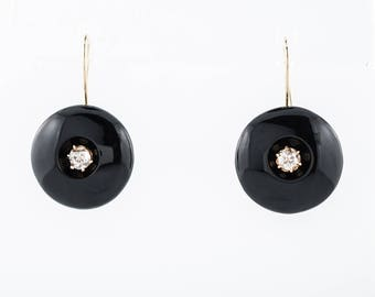 Victorian Earrings .78 Round Brilliant Cut Diamonds & Onyx in 14k Yellow Gold