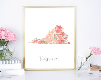 Virginia Floral Watercolor State, 8x10, 16x20, DIY printable - Chic State wall decor - Housewarming gift - Flower watercolor state print
