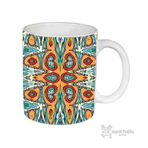 Boho, Mug, Patterned Mug, Boho Mug, Daisy, Unique Coffee Mug, USA, Ceramic Mug, Funky coffee cup, Artsy mug, Art on coffee cup, mug art