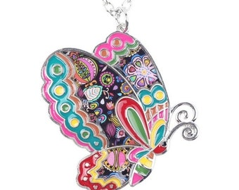 "Multi-colored Enamel Butterfly Pendant with FREE 20"" Chain"