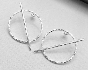 Prevail Earrings - portion of proceeds donated to ACLU - Handmade sterling silver hammered Cross Bar Earrings