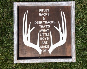 Rifles, Racks And Deer Tracks That's What Little Boys Are Made Of Sign, Boy Nursery Decor, Little Boys Room Decor, Hunting Sign, Rifle Sign