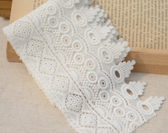 2 Yards Lace Trim Cotton Exquisite Floral Embroidered Lace 4.33 Inches Width