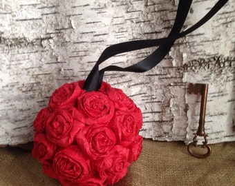 "Paper Rose Flower Pomander Hanging Kissing Ball Crepe - 6"""
