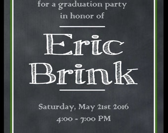 Double Sided Chalkboard Graduation Invitation With Picture