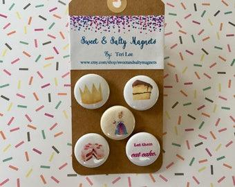 Girl, eat your cake Magnet set (1 set of 5 magnets)