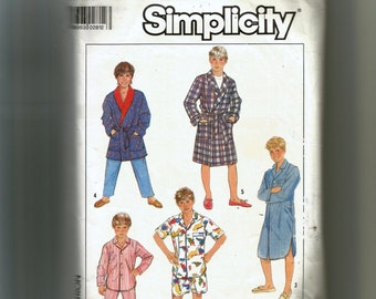Simplicity Boys' Robe and Pajamas In Two Lengths and Nightshirt Pattern 8327