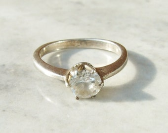 Vintage 925 Sterling Silver Cubic Zirconia Solitaire Ring Size 6 1/2 - M 1/2