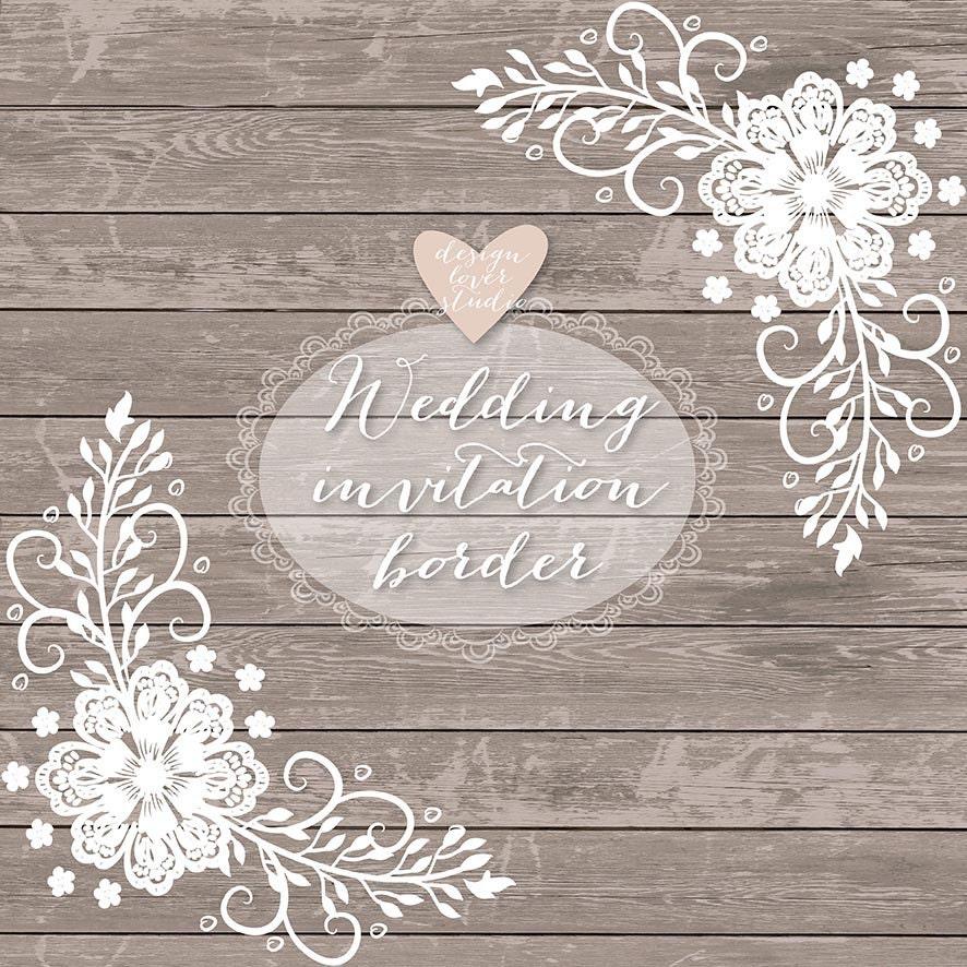 Premium VECTOR Lace border rustic Wedding invitation border