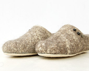 Womens slippers - flax decorated with black clay beads, rubber soles- felted slippers - wool clogs- boiled wool slippers - women house shoes