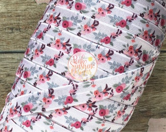 """White Cheeky Fall Floral 5/8"""" Fold Over Elastic 1, 3 or 5 yards"""