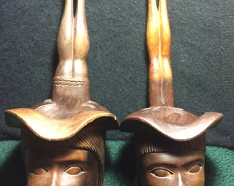 A Rare Vintage Pair of African/Philippine Tribal/Hand Carved/ Water Dipping Vessels