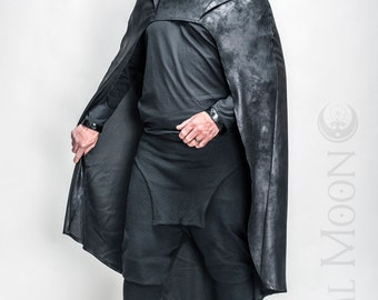 NEW FABRIC: Men's Convertible Cape with Hood in Lightweight Faux Vegan Leather Black or Brown by Opal Moon Designs (Choose Size 1 or 2)