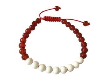 Conch Shell and Carnelian Tibetan Wrist Mala Bracelet for Meditation