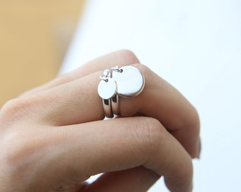 Monogram Initial Ring / Cute Initial Ring / Free Size Gift for Her