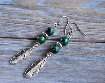 Green Stone Feather Earrings Hypoallergenic Silver Ear Wires