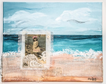 "Original painting/Hand embroidered/Mixed media/beach/Victorian/girl/""Beach Painting"""