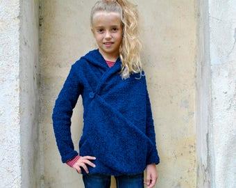 Wool cardigan sweater/Hooded sweater drape cardigan/Hoodie sweater kids cardigan/Winter cardigan/Wrap cardigan/Girls sweaters/Girls cardigan
