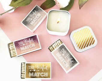 The Perfect Match Boxes - Gold Foil Wedding Matches - Match box Wedding Favors - Wedding Matches - A Perfect Match  (EB3101FPE) - set of 50