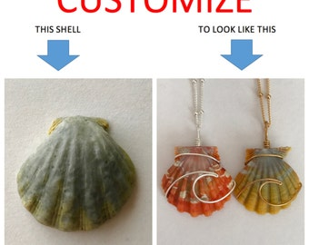 CUSTOMIZE An Ocean Wave Wire Wrapped Sunrise Shell Necklace; 14k; Sterling Silver