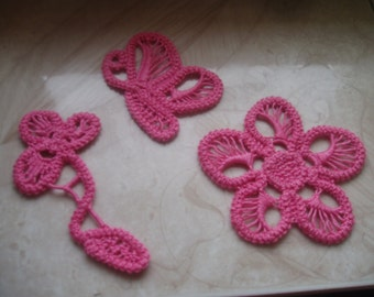 Romanian Point Lace Butterfly,Handmade pink Flower, wedding gift , needle craft,needle lace, clothing embellishement, home decor