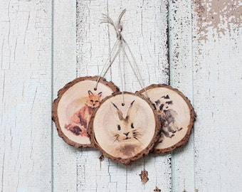 Woodland Animal Wood Ornament Set (3)